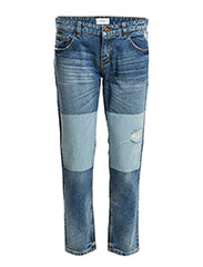 Cropped relaxed jeans - Open blue