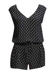 Printed short jumpsuit - Black