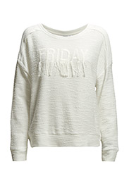 Textured embroidery sweatshirt - Natural white