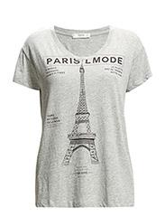 Printed cotton-blend t-shirt - Medium grey