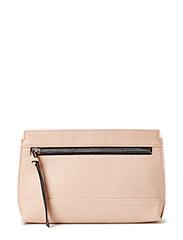 Contrast zip clutch - Lt pastel brown