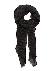 Striped textured scarf - BLACK