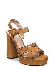 Platform leather sandals - DARK YELLOW