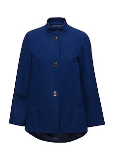 Unstructured wool-blend coat - BRIGHT BLUE