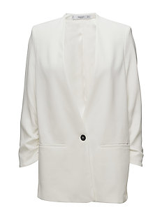 Ruched sleeves blazer - NATURAL WHITE