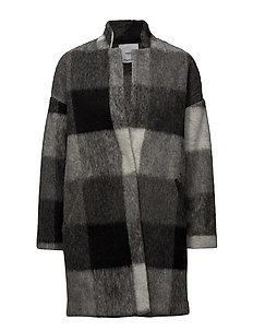 Textured cocoon coat - BLACK