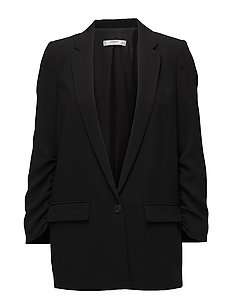 Ruched sleeves blazer - BLACK