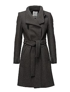 Belted wool coat - GREY