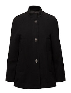 Unstructured wool-blend coat - BLACK