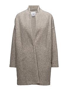 Textured cocoon coat - LT PASTEL BROWN