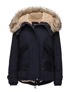 Furry hooded parka - NAVY