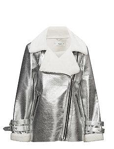 Faux shearling-lined biker jacket - SILVER