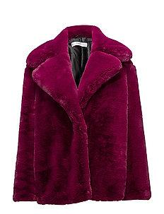 Lapels faux fur coat - PINK