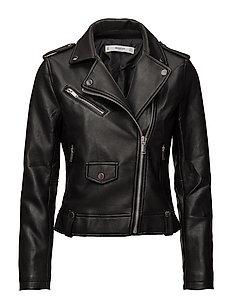 Appliqu biker jacket - BLACK