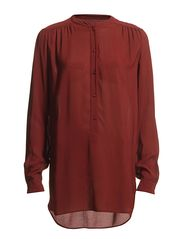 Blouse, loose fit, stand-up collar, - maroon