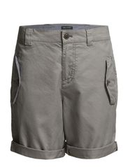 Shorts, loose fit, with flap pocket - mauve grey
