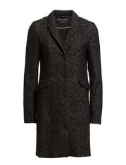 Coat, revers collar coat, 3 button, - black