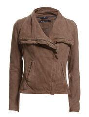Leather Jacket, hidden zipper, stan - basalt