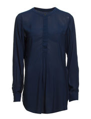 Blouse, loose fit, stand-up collar, - real blue