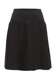 Skirt, high waist, slightly a-shape - graphite mélange