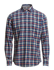 Shirt, long sleeve, spread collar, - twilight blue