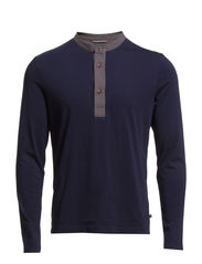 Serafino, long-sleeve, round-neck, - deep blue