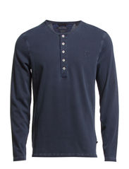 Sweat-serafino, long-sleeve, ellbow - deep ocean