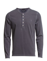 Sweat-serafino, long-sleeve, ellbow - flint grey melange