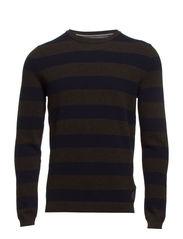 Pullover, crew neck, all over strip - mocha