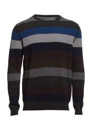 Pullover, crew-neck, block stripe - rainy day
