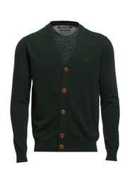 Cardigan, long sleeve, mop logo on - deep forest