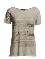 T-shirt, short-sleeve, frontprint - ecru