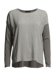 T-shirt, long-sleeve, boxy-style, p - marl