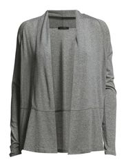 Jersey-cardigan-shell, long-sleeve, - steel mélange