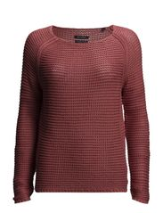 Pullover, long sleeve, boat neck, s - rosewood