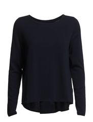 Pullover, long sleeve, boat neck, p - dusk blue