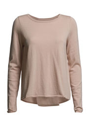 Pullover, long sleeve, boat neck, p - nude rose knit