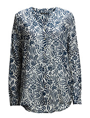 Blouse, long sleeve, rounded sidese - combo