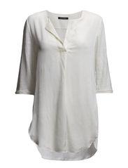 T-shirt, overlong short-sleeve, tun - broken white