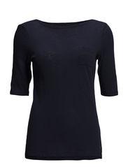 T-shirt, overlong short-sleeve, str - dusk blue
