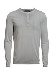 T-shirt, long-sleeve, button-placke - frost grey