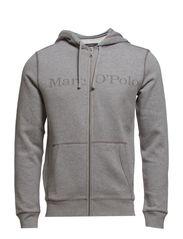 Sweatshirt, zipper, hood, kangaroo- - frost grey