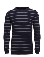 Pullover, crew neck, striped - deep ocean