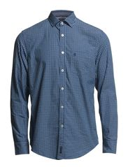 Shirt, long sleeve, spread collar, - deep blue