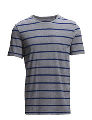 T-shirt, short-sleeve, y/d striped, - combo