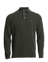 Polo-shirt, long-sleeve - dusty olive