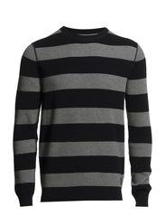 Pullover, crew-neck, stripe - deep ocean