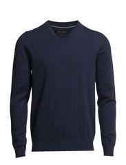 Pullover, v-neck - medieval blue