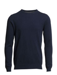 Pullover, crew neck, structured - medieval blue