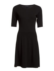 Jersey-dress, long short-sleeve - black